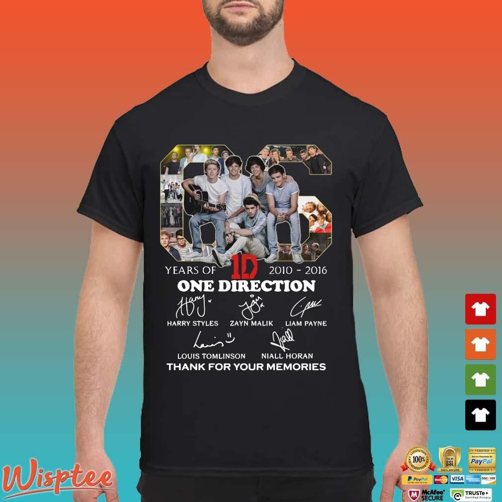06 years of 1D 2010 2016 One Direction signatures thank you for the memories shirt