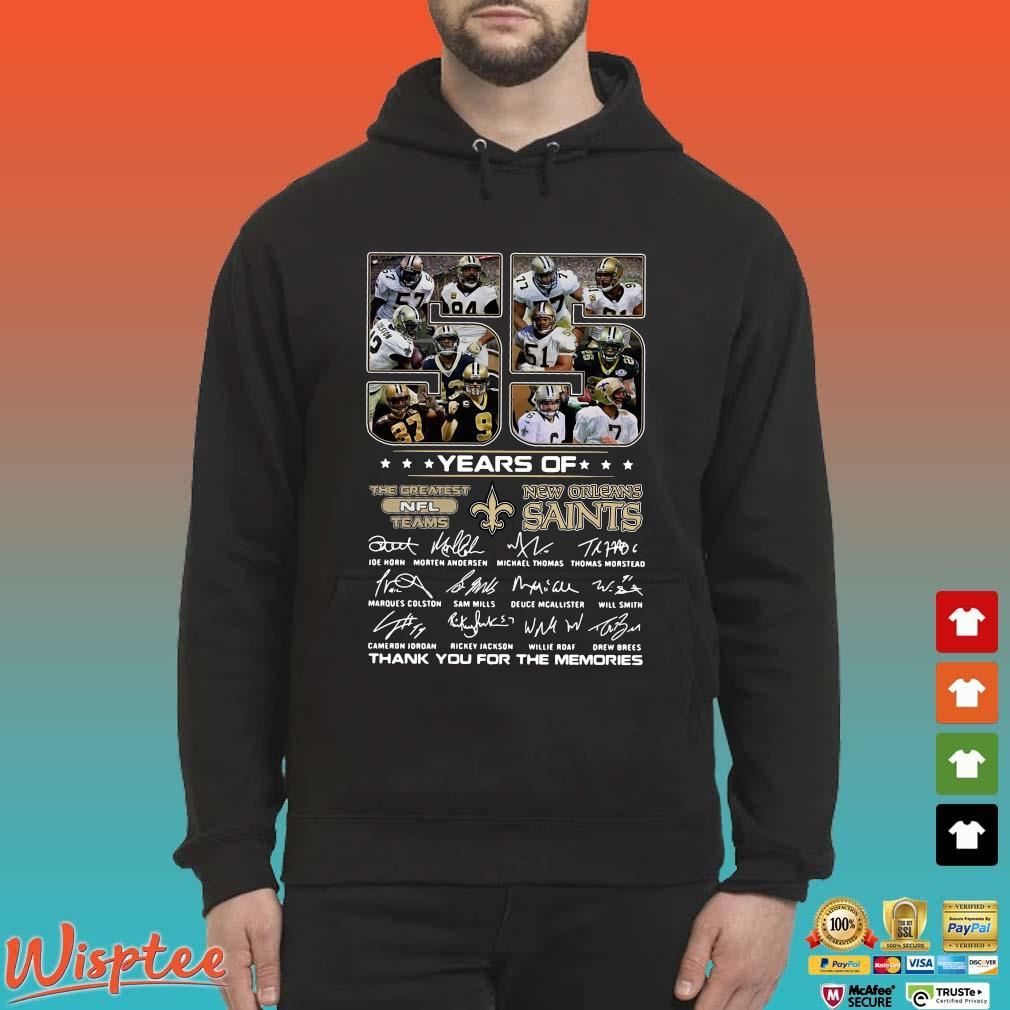 55 years of New Orleans Saints the greatest NFL teams thank you for the memories signatures s Hoodie den
