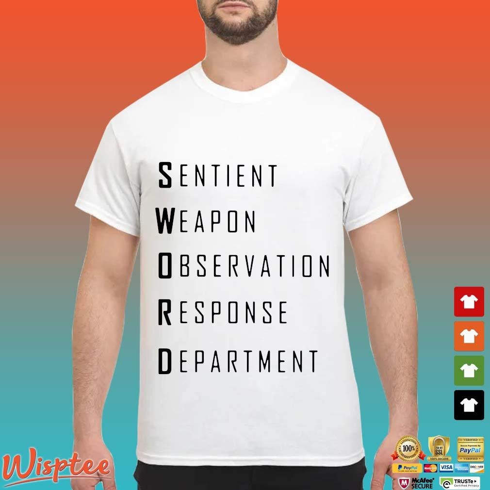 Sword sentient weapon observation response department shirt