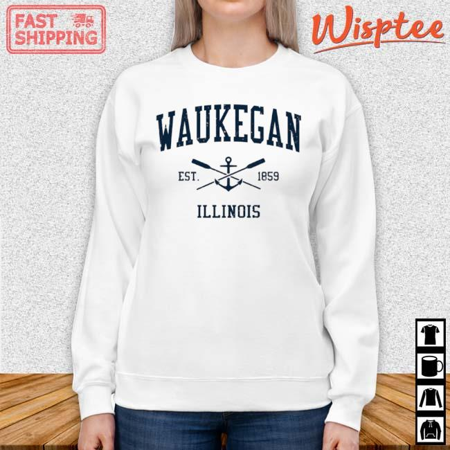 Waukegan Il Vintage Navy Crossed Oars And Boat Anchor Shirt sweater trang
