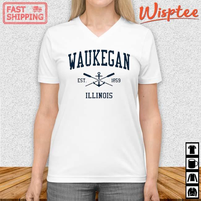 Waukegan Il Vintage Navy Crossed Oars And Boat Anchor Shirt v neck trang