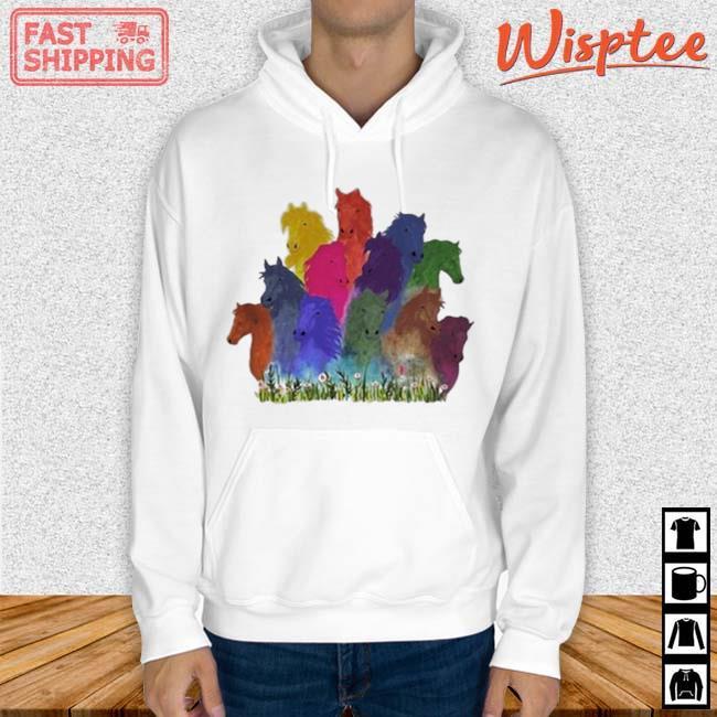 Horse Watercolor Shirt hoodie trang
