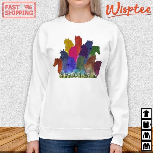 Horse Watercolor Shirt sweater trang