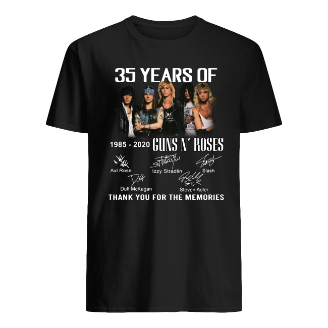 35 Years Of 1985-2020 Guns N' Roses thank you for the memories shirt
