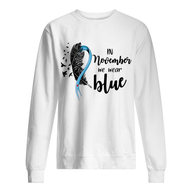 Breast cancer awareness bird in November we wear blue Unisex Sweatshirt