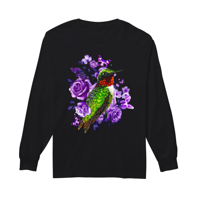 Hummingbird and purple rose flower Long Sleeved T-shirt