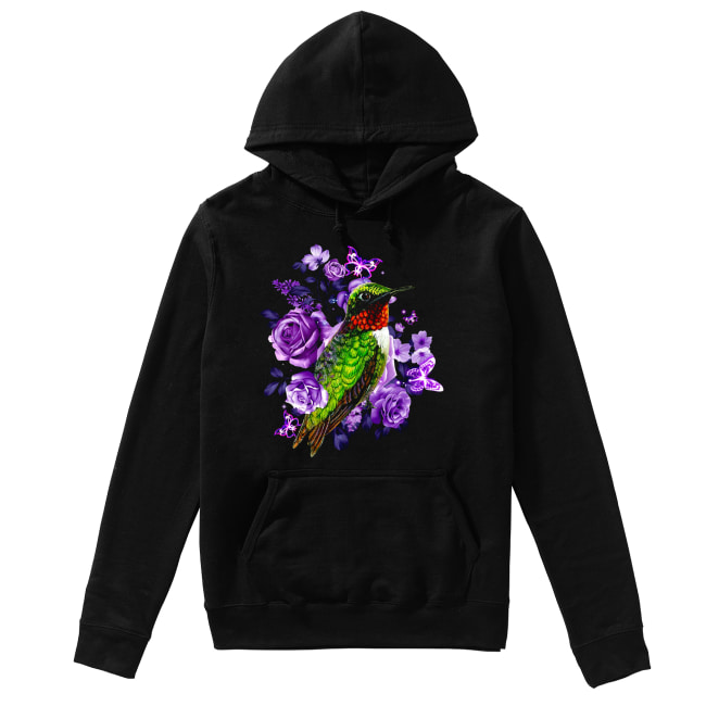 Hummingbird and purple rose flower Unisex Hoodie