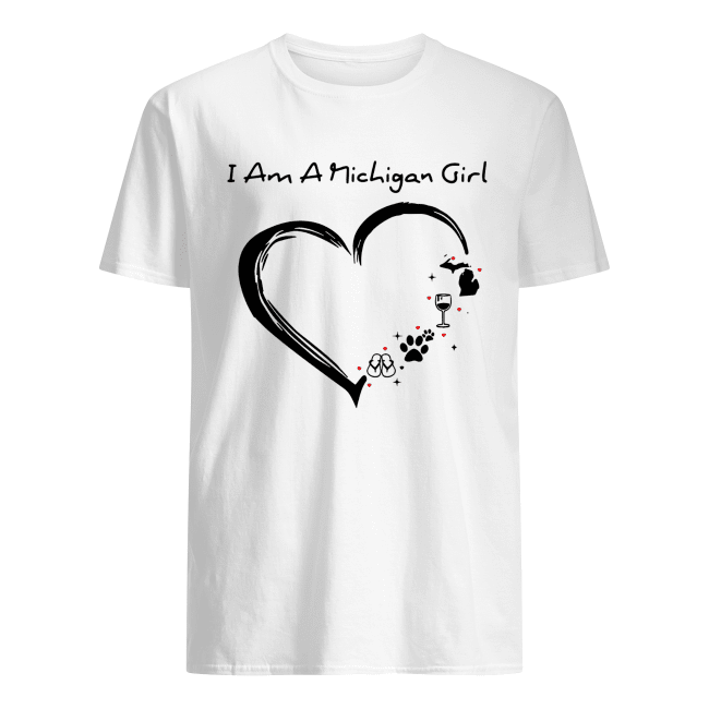 I am a Michigan girl I love Scuba diving wine paw dog and flip flop Classic Men's T-shirt