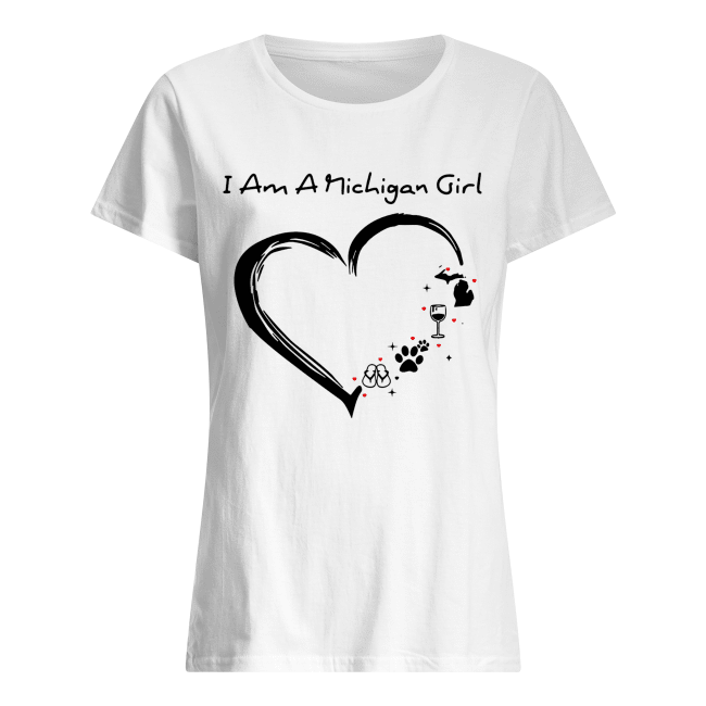 I am a Michigan girl I love Scuba diving wine paw dog and flip flop Classic Women's T-shirt