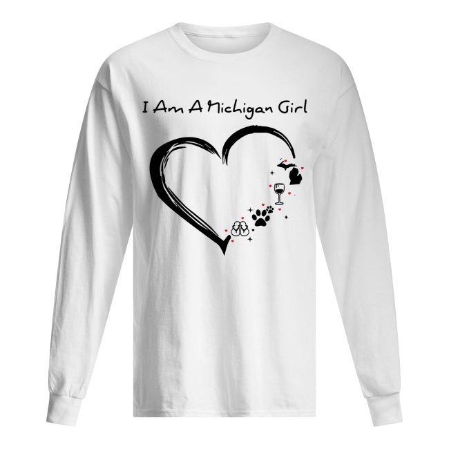 I am a Michigan girl I love Scuba diving wine paw dog and flip flop Long Sleeved T-shirt
