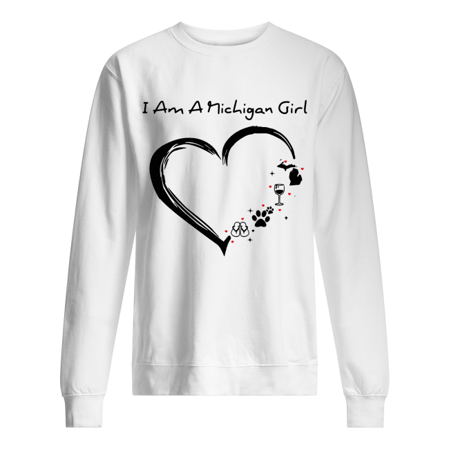 I am a Michigan girl I love Scuba diving wine paw dog and flip flop Unisex Sweatshirt