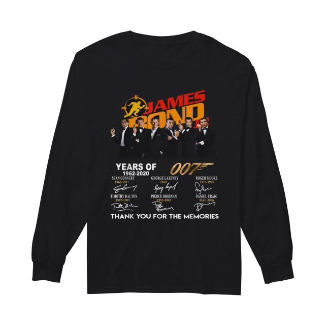 James Bond 50 Years Of 007 1962-2020 signatures Long Sleeved T-shirt