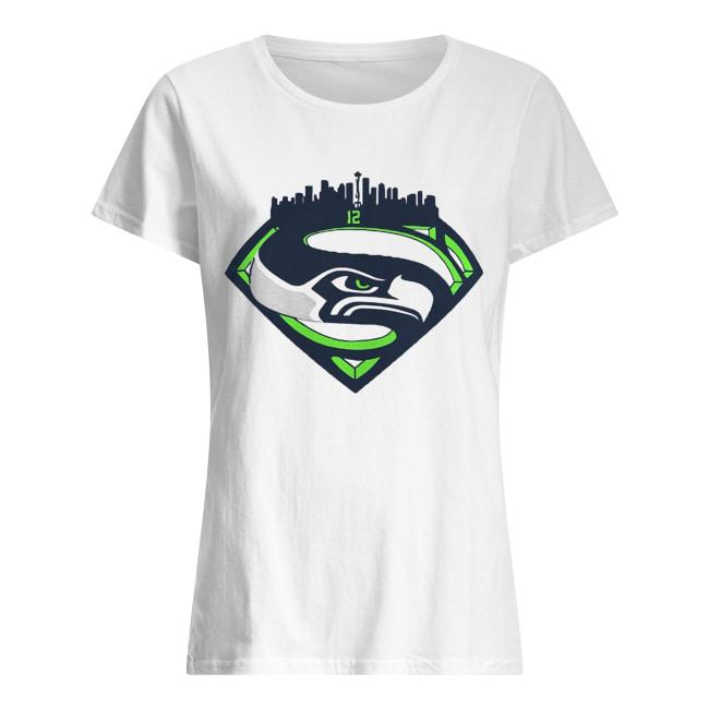 Seattle Seahawks Superman 12 Shirt Classic Women's T-shirt