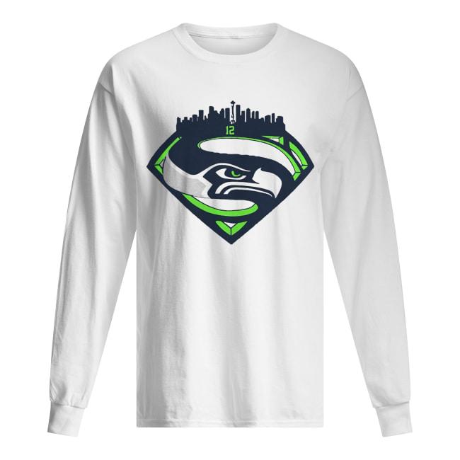 Seattle Seahawks Superman 12 Shirt Long Sleeved T-shirt