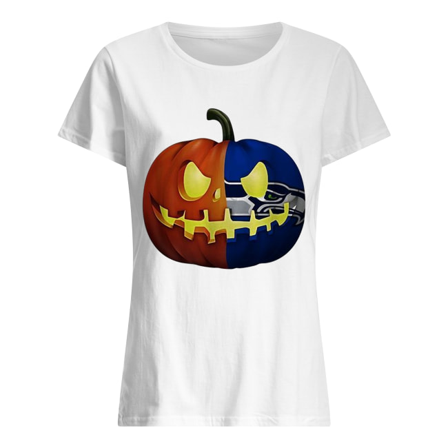Seattle Seahawks pumpkin Halloween Classic Women's T-shirt