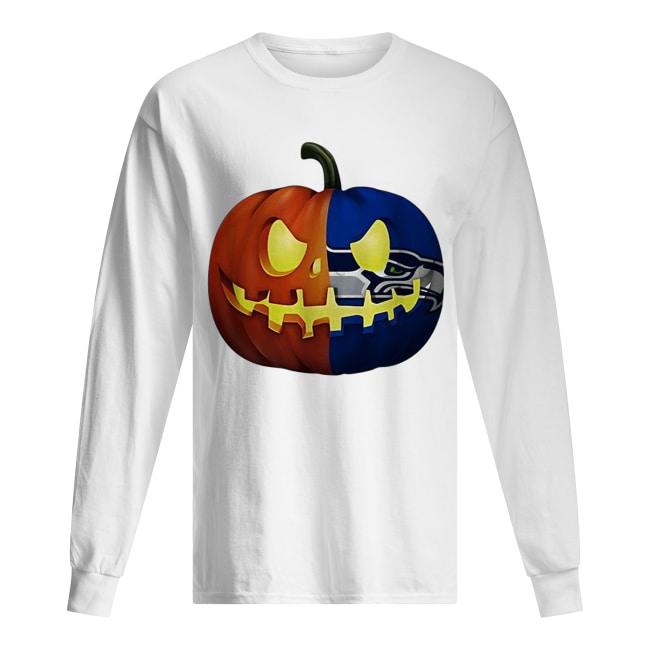Seattle Seahawks pumpkin Halloween Long Sleeved T-shirt