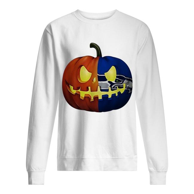Seattle Seahawks pumpkin Halloween Unisex Sweatshirt
