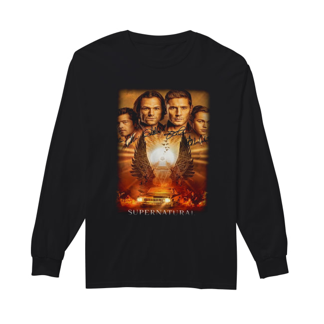 Supernatural The Winchesters final season characters signature Long Sleeved T-shirt