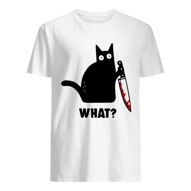 What Black cat hold knife Classic Men's T-shirt