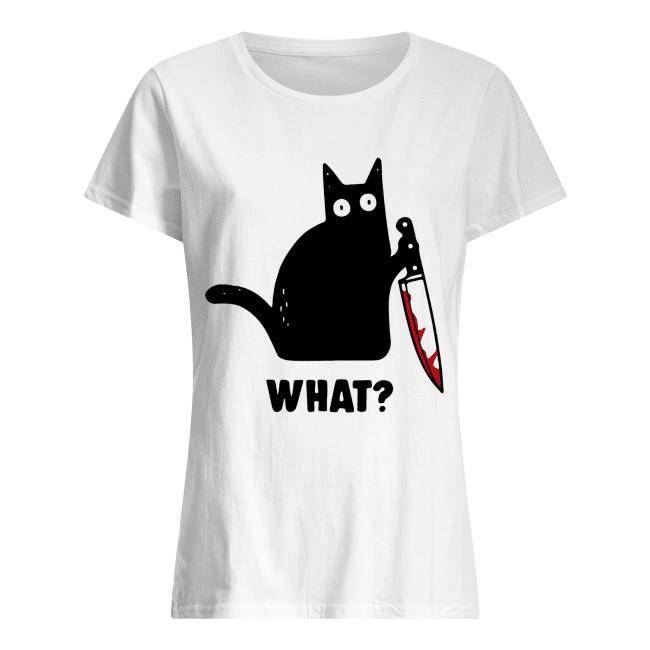 What Black cat hold knife Classic Women's T-shirt