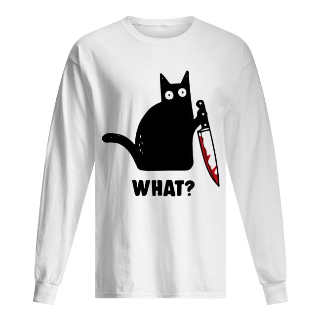 What Black cat hold knife Long Sleeved T-shirt