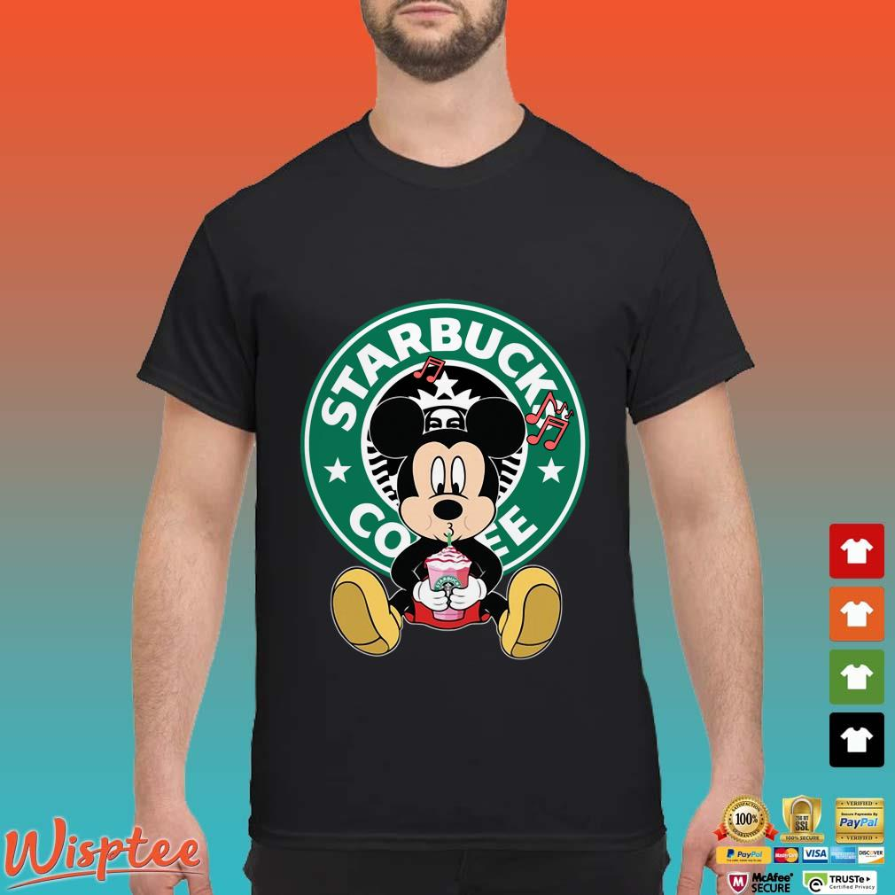 Mickey Mouse Listen to Music Drink Starbuck Coffee Shirt