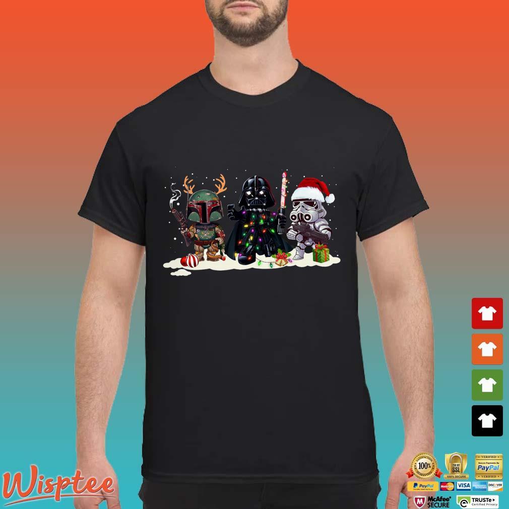 Star Wars Boba Fett Darth Vader and Stormtrooper chibi Christmas shirt