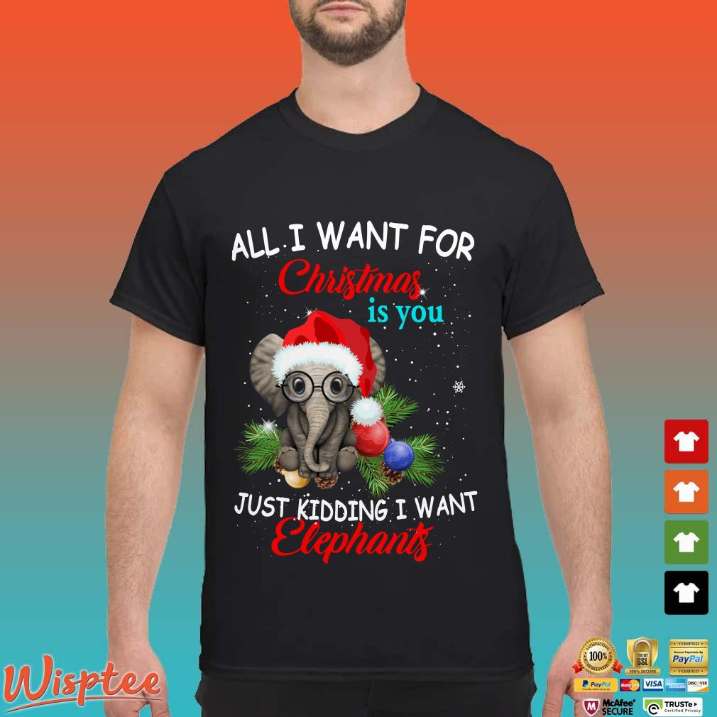 All I Want For Christmas Is You Just Kidding I Want Elephant Shirt