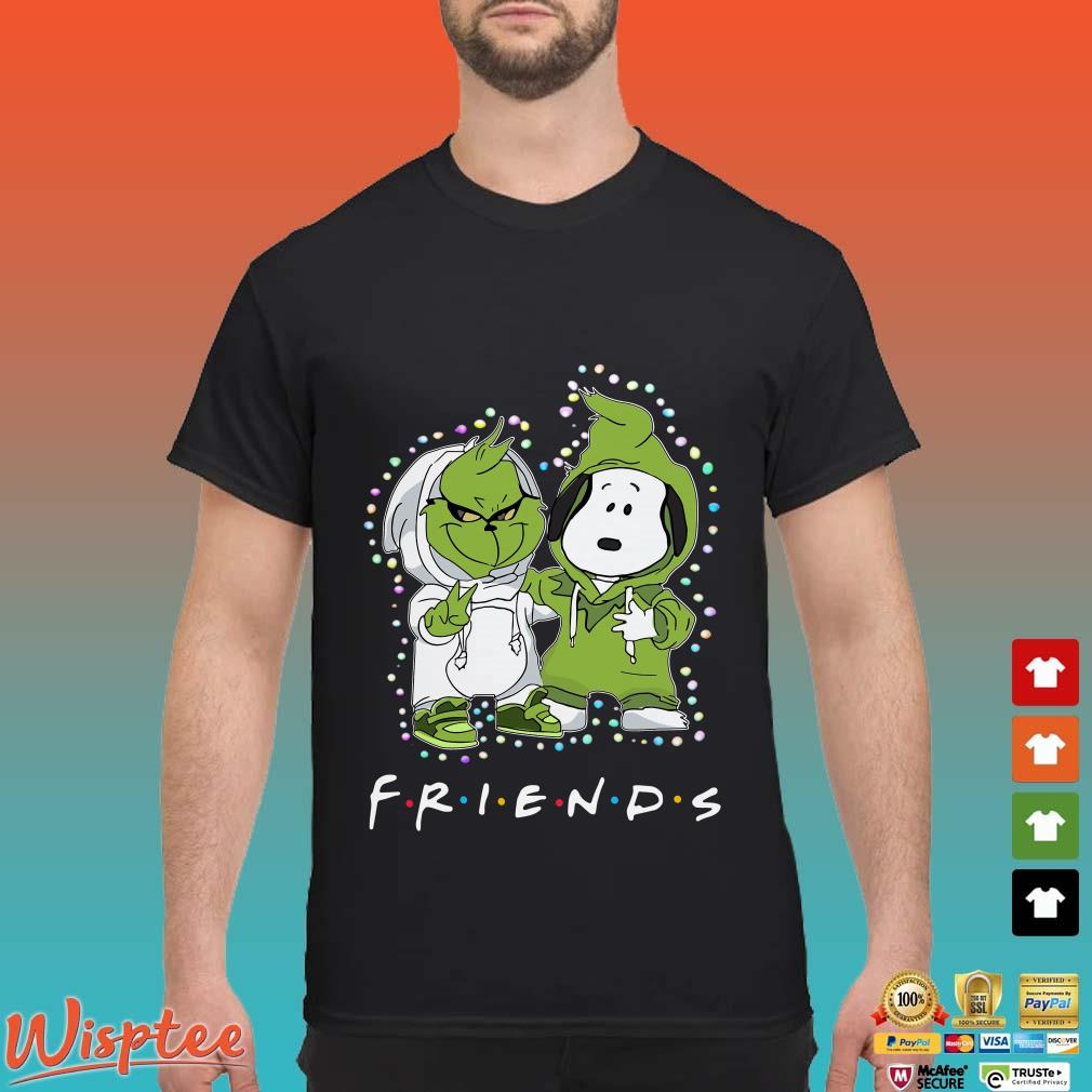 Baby Grinch And Snoopy Light Christmas Friends Shirt