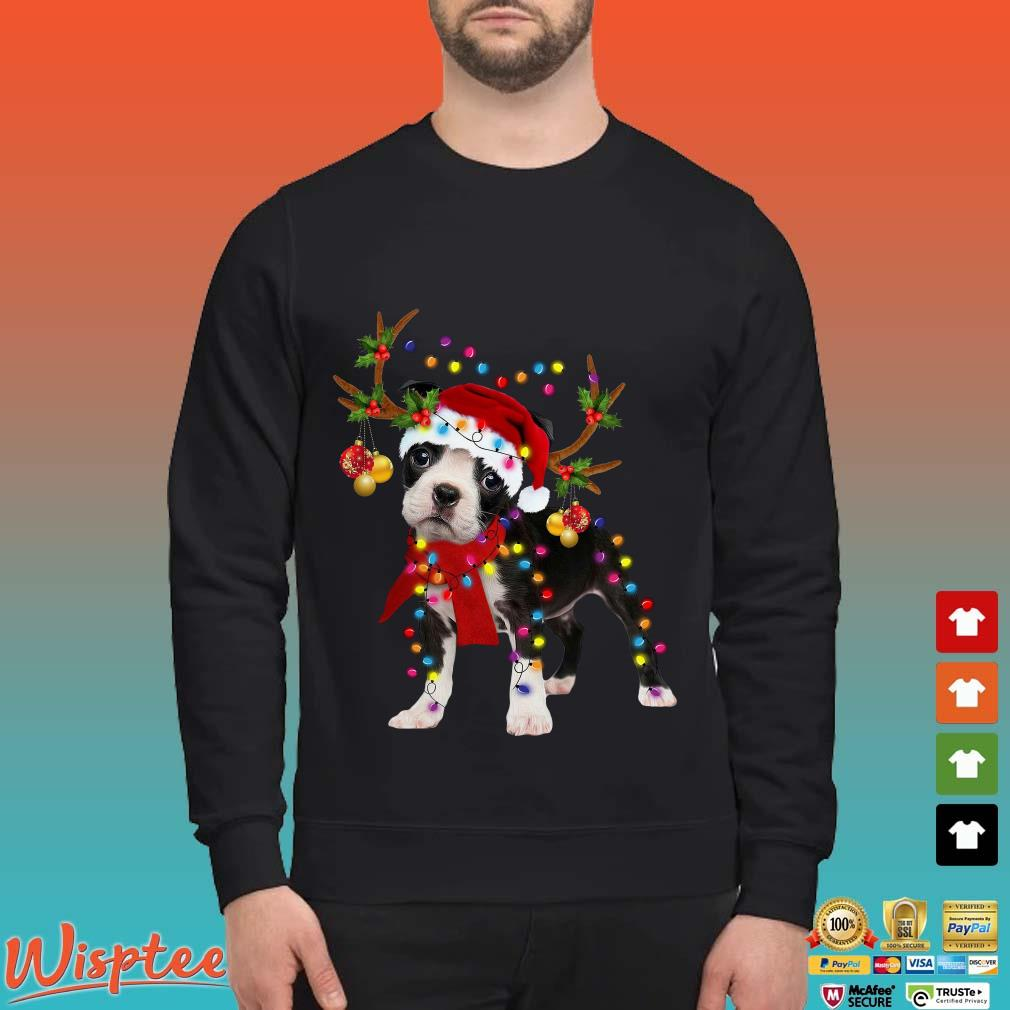 Boston Terrier Reindeer Light Christmas Shirt