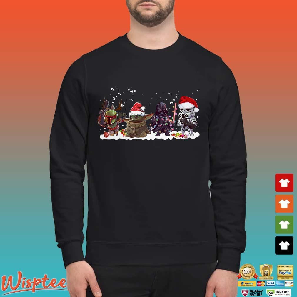 Star Wars Boba Fett Yoda Darth Vader and Stormtrooper chibi Christmas Shirt
