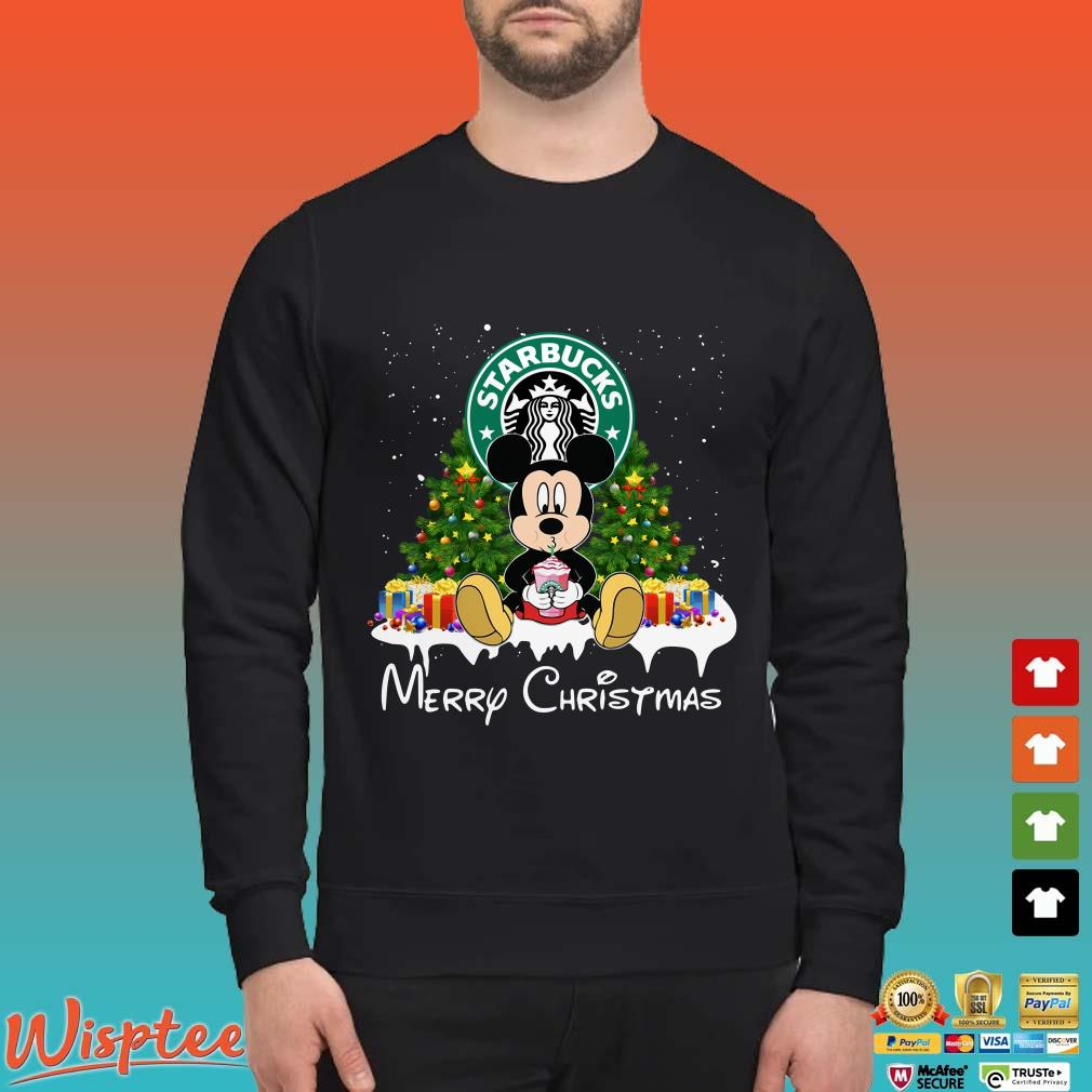 Mickey Mouse Drinking Starbucks Merry Christmas Shirt