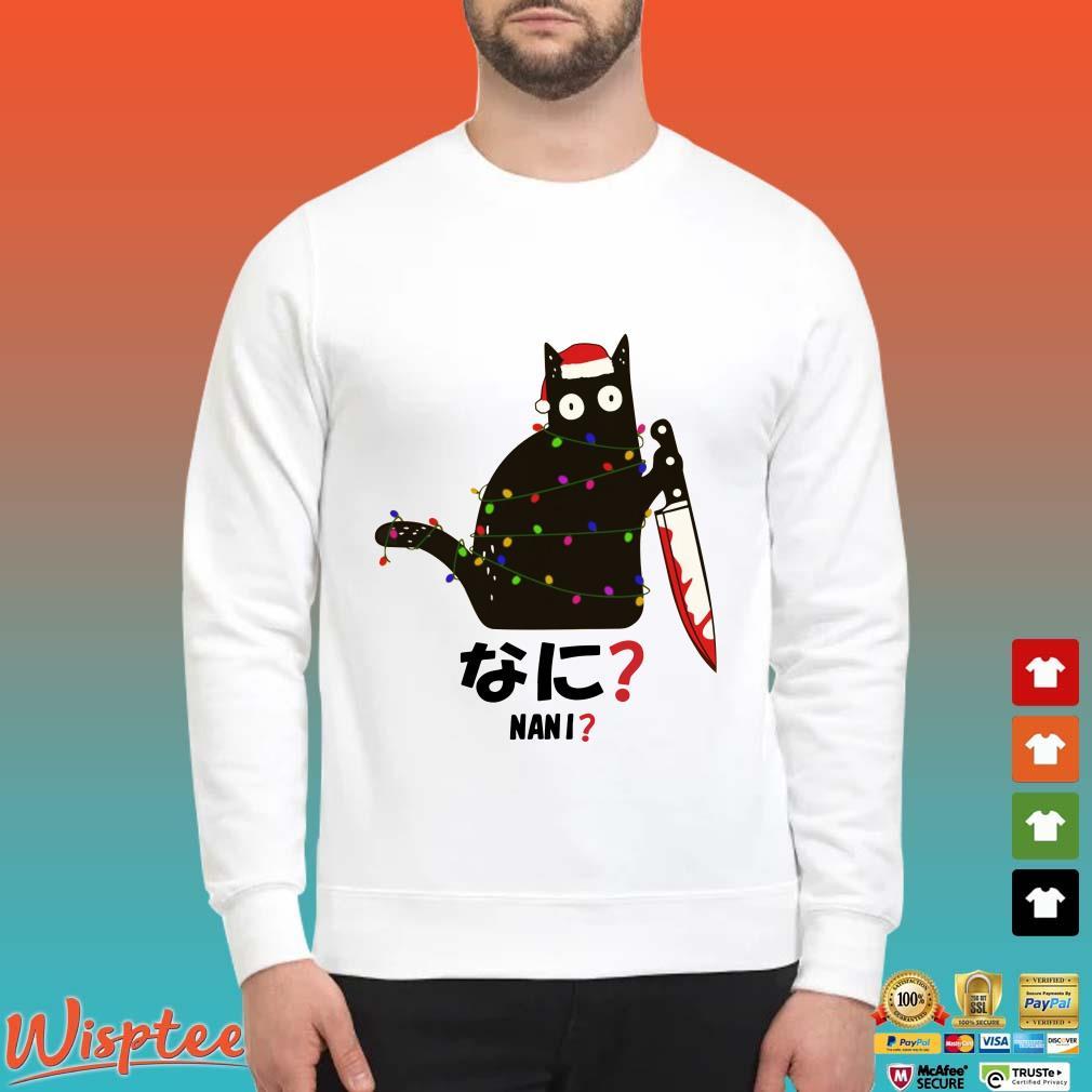 Santa Nani murderous black cat with knife Light Christmas Shirt