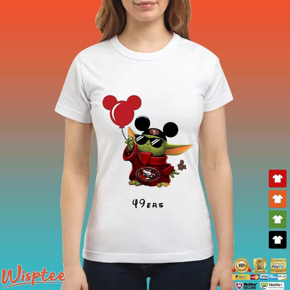 Baby Yoda Mickey Mouse Balloons San Francisco 49ers Shirt