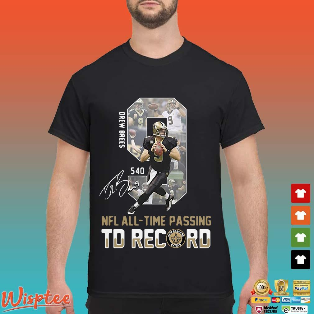 9 drew brees nfl all-time passing to record signature shirt