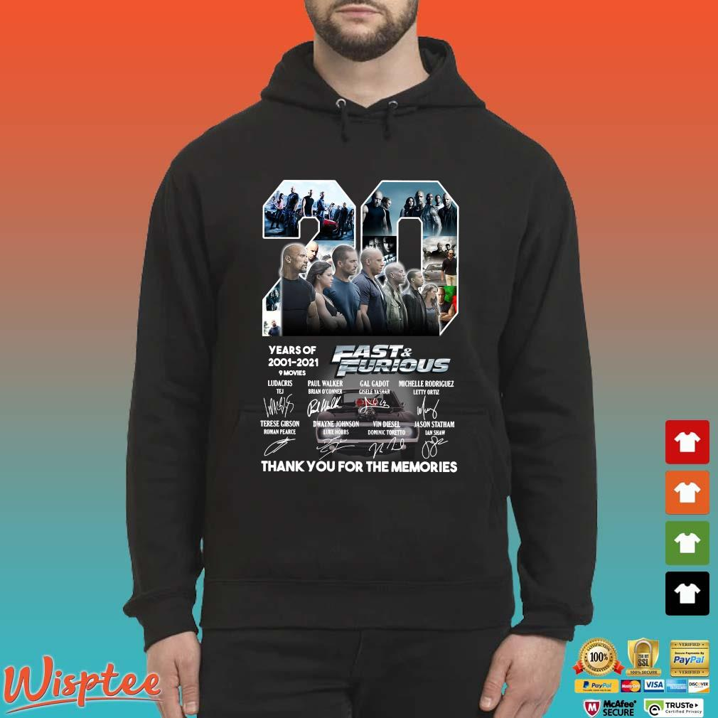 20 Years Of Fast & Furious 2001-2021 Thank You For The Memories Signature Shirt Hoodie den