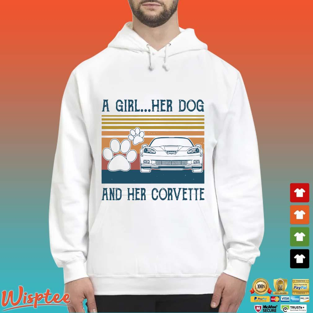 A Girl Her Dog And Her Corvette Vintage Shirt Hoodie trang