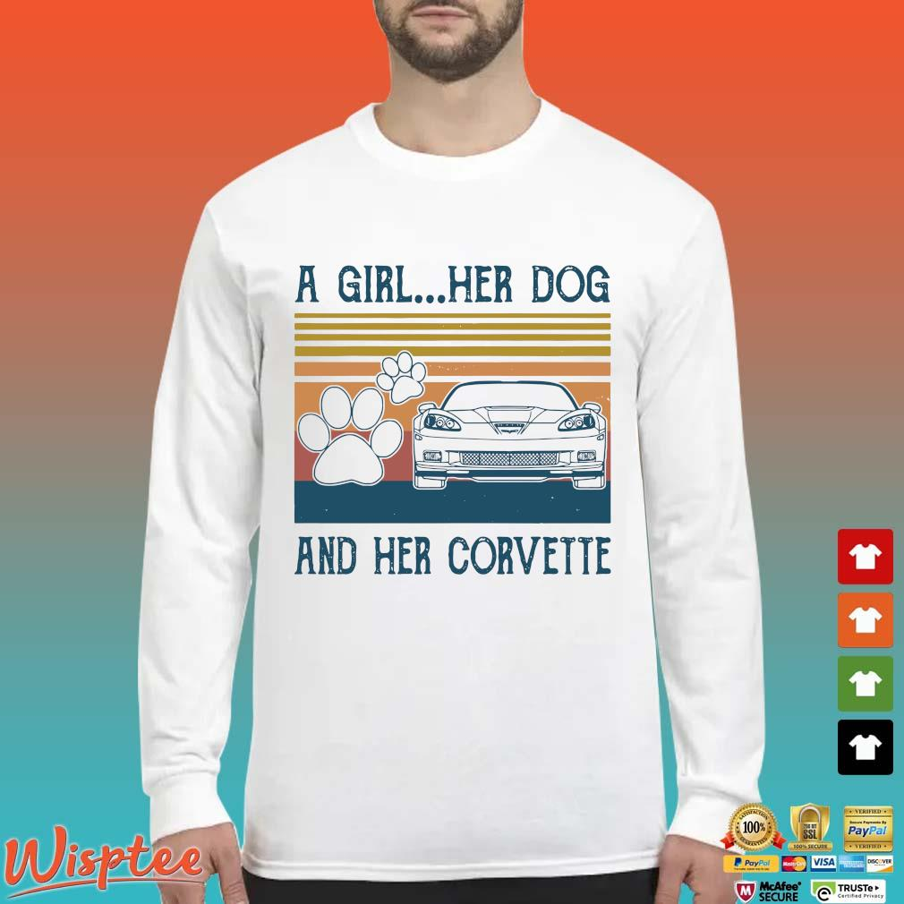 A Girl Her Dog And Her Corvette Vintage Shirt Long Sleeved trang