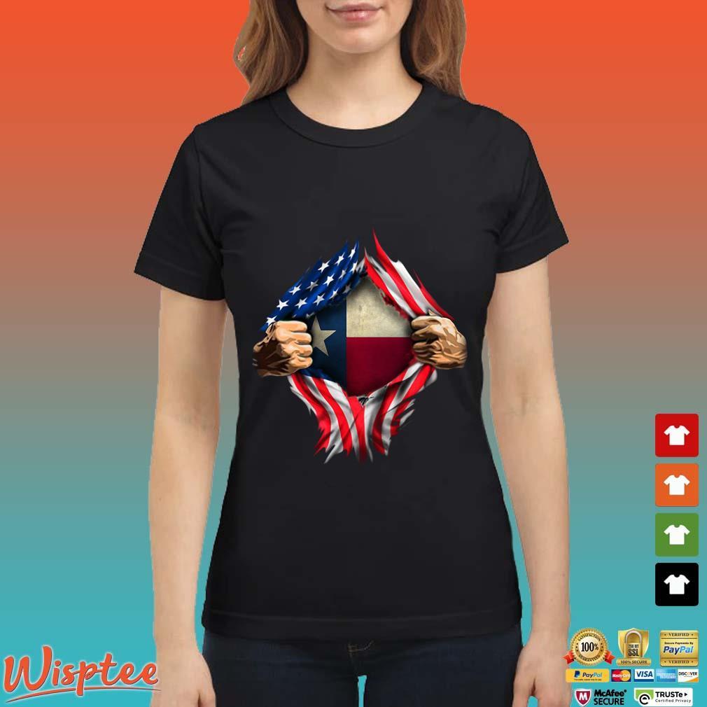 Blood Inside Me Texas American Flag Shirt Ladies den