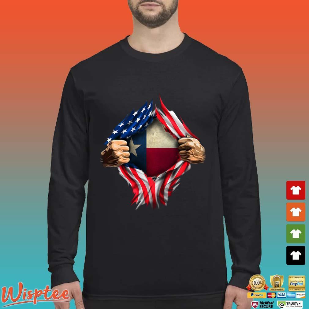 Blood Inside Me Texas American Flag Shirt Long Sleeved den