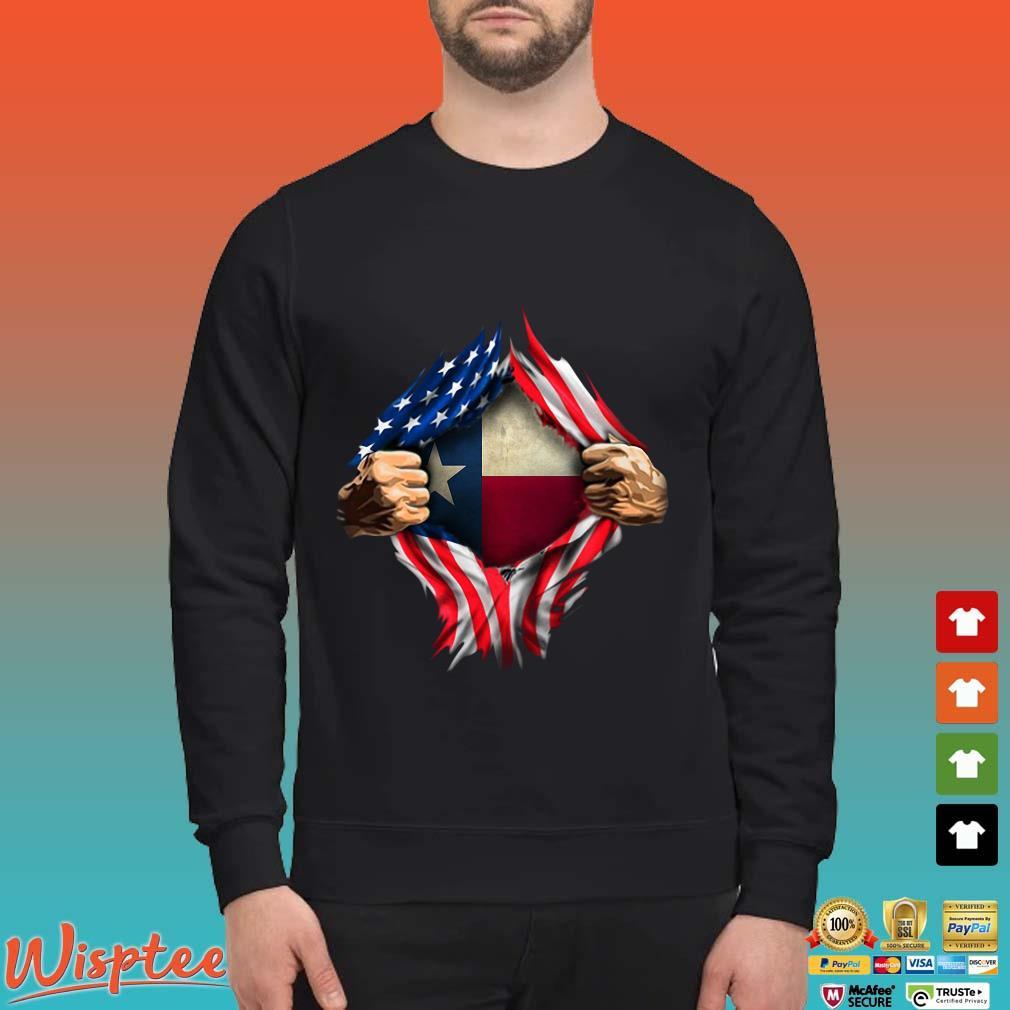 Blood Inside Me Texas American Flag Shirt Sweater den