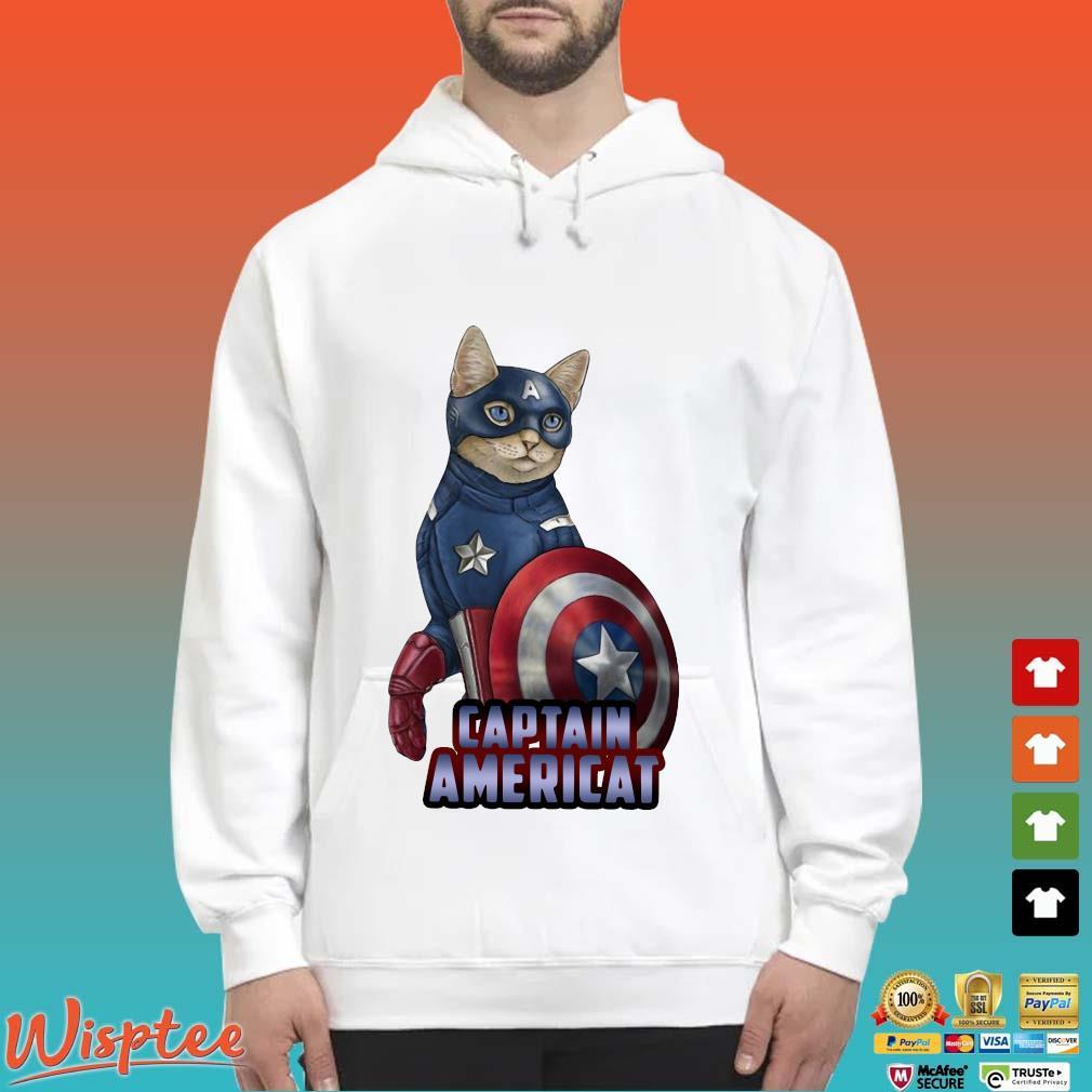 Cats Captain Americat Shirt Hoodie trang
