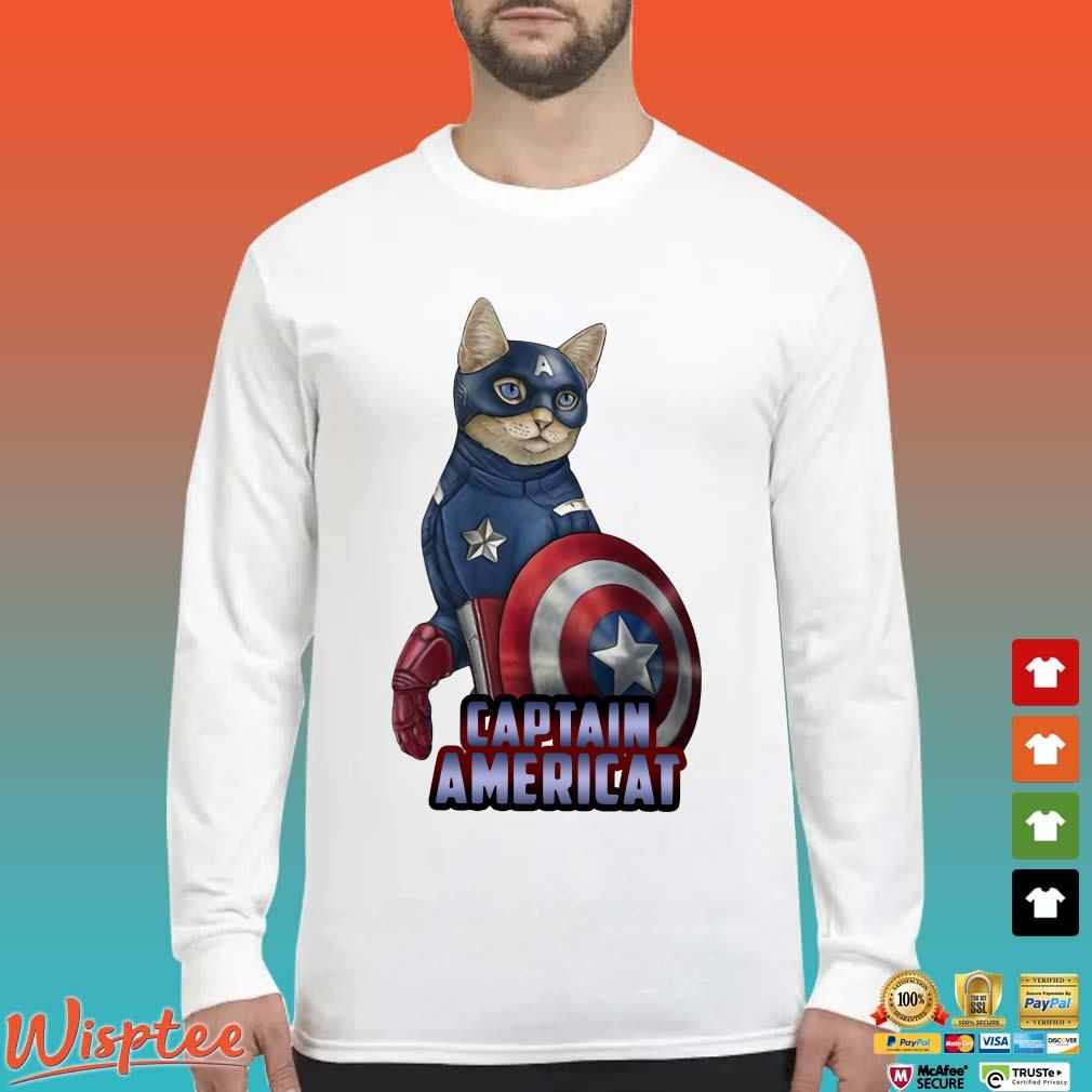 Cats Captain Americat Shirt Long Sleeved trang