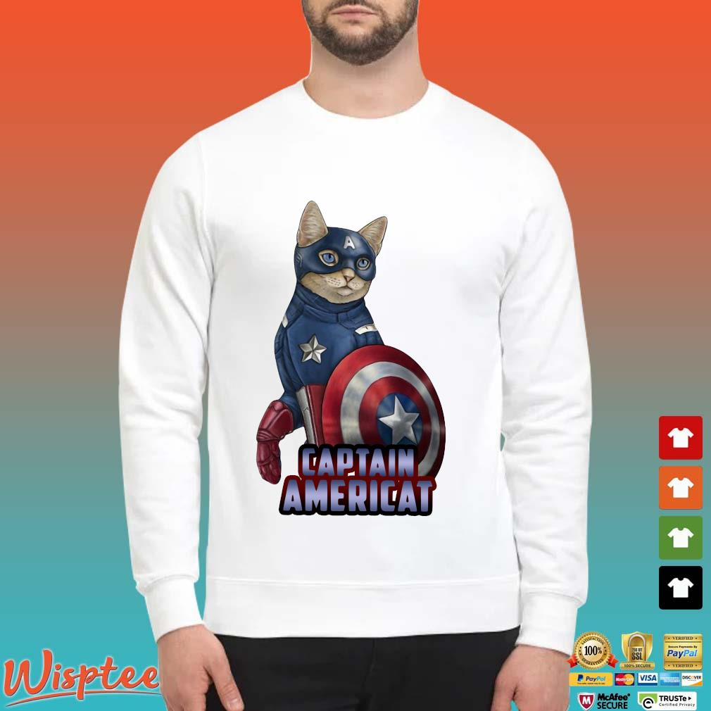 Cats Captain Americat Shirt Sweater trang