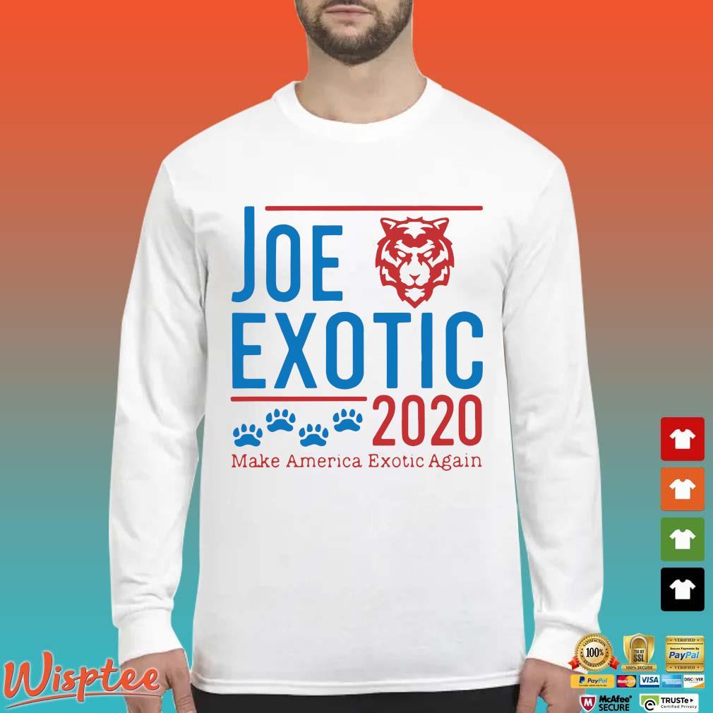 Joe Exotic 2020 Make America Exotic Again Shirt Long Sleeved trang