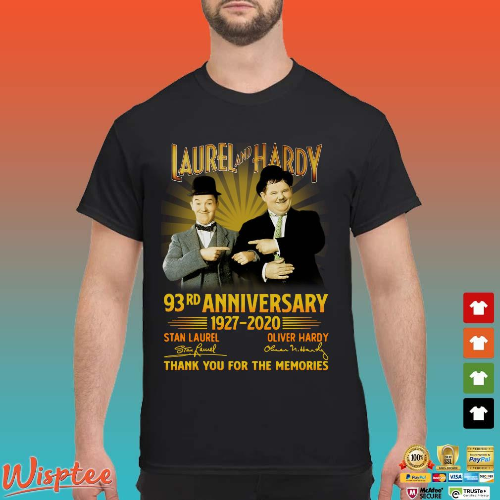 Laurel And Hardy 93rd Anniversary 1927 2020 Thank You For The Memories Signature Shirt