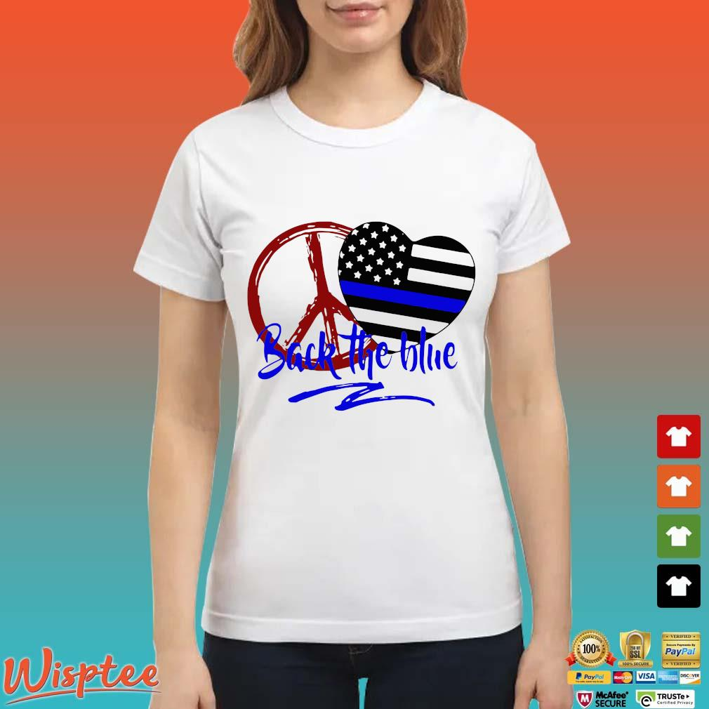 Official Back The Blue America Love Heart Independence Day Shirt Ladies trang