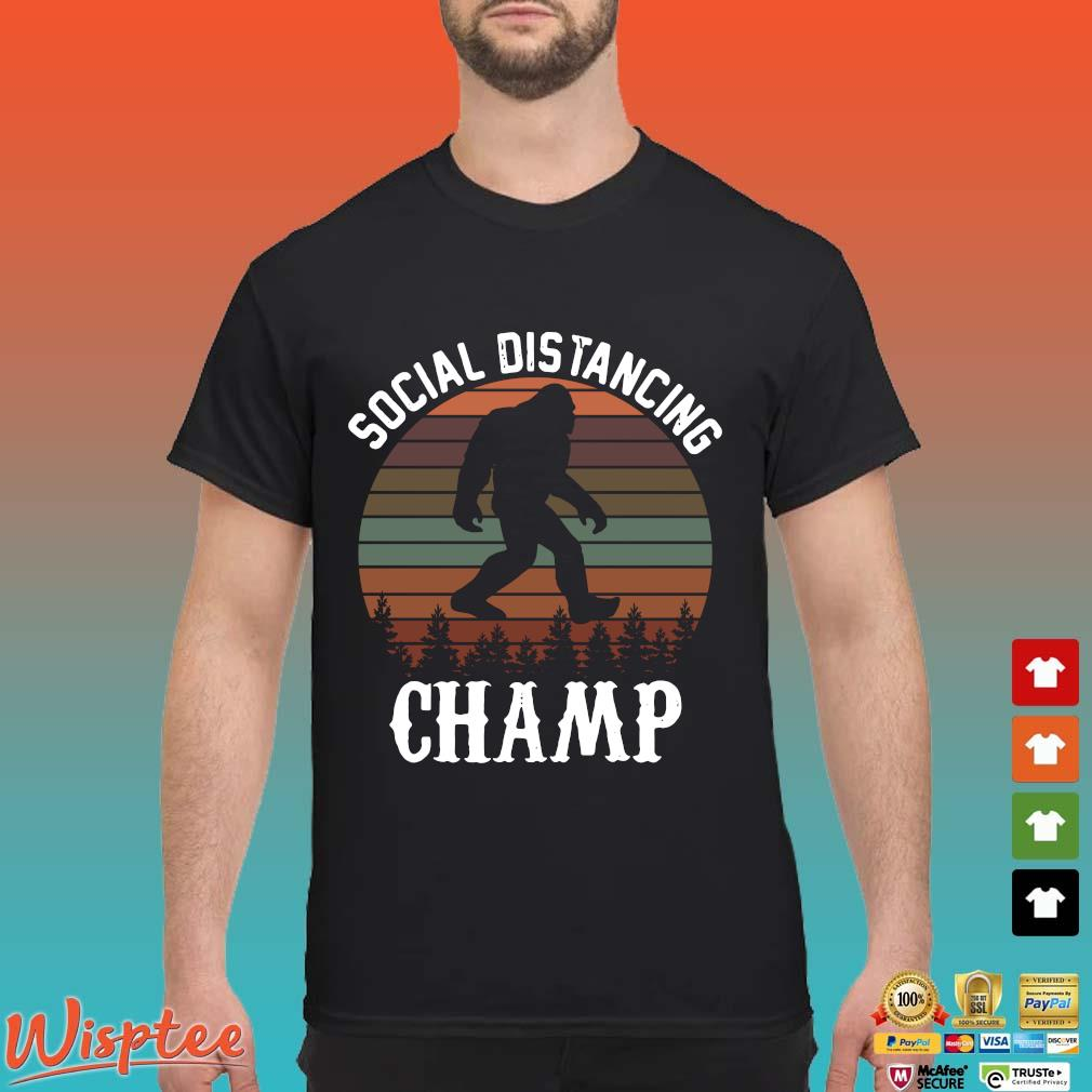 Social Distancing Champ Introvert Antisocial Funny Bigfoot Men's T-Shirts