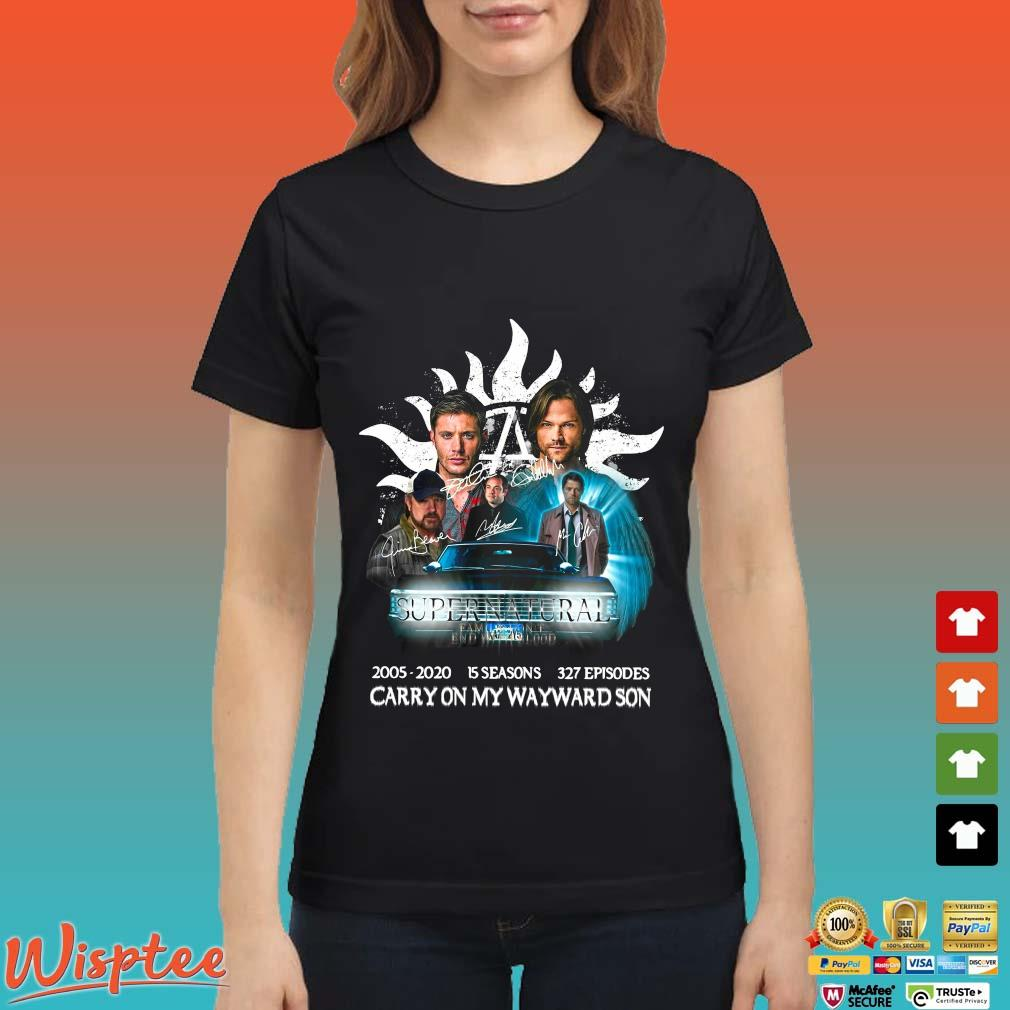 Supernatural Family Don't End With Blood Carry On My Wayward Son Signature Shirt Ladies den