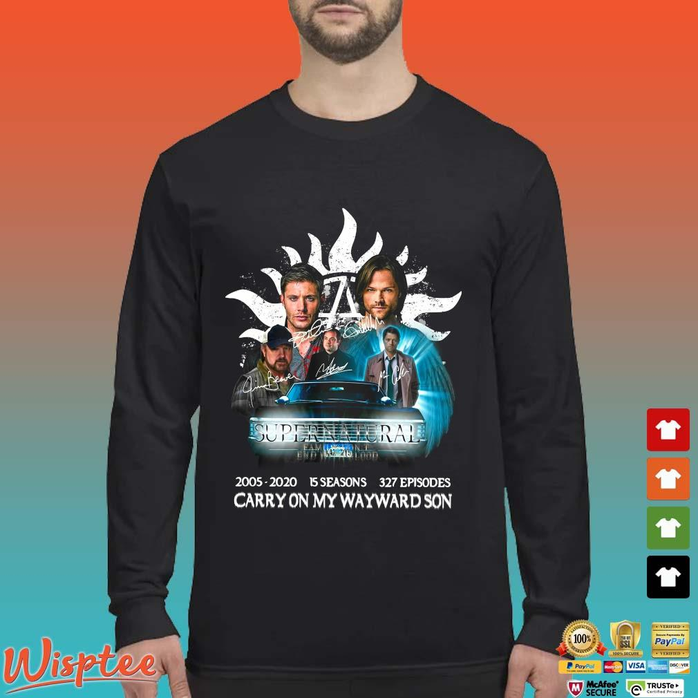 Supernatural Family Don't End With Blood Carry On My Wayward Son Signature Shirt Long Sleeved den
